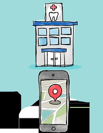 スマートフォンのマップアプリで歯科医院を検索する様子