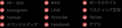・HP・SEO・Instagram・Twitter・オウンドメディア・MEO・LINE・Youtube・Facebook・ポータルサイト・リスティング広告・TicTok・アプリ